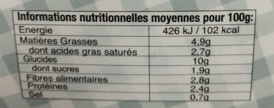 Moussaka Libanaise - Voedingswaarden - fr