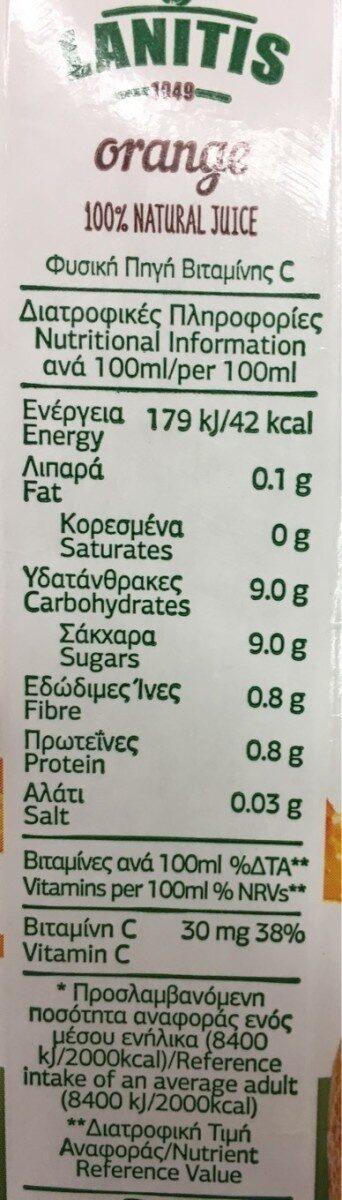 Lanitis Juice Orange - Διατροφικά στοιχεία - fr