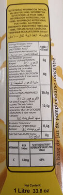 Jus de pamplemousse - Ingrediënten - fr