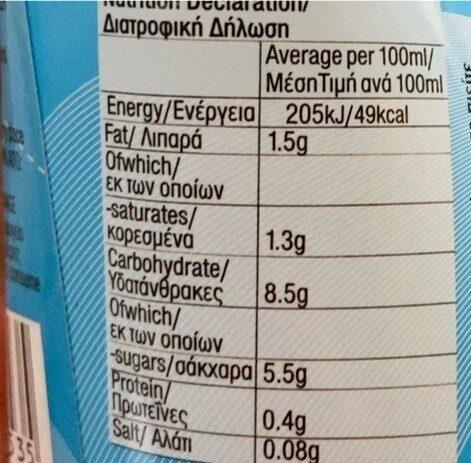 Coconut milk drink - Διατροφικά στοιχεία - fr