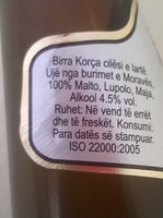 "Beer ""Korça"" e Zezë - Ingrediënten"