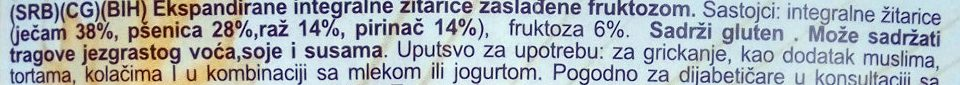 Puffed4Grains sa fruktozom - Ingredients - sr