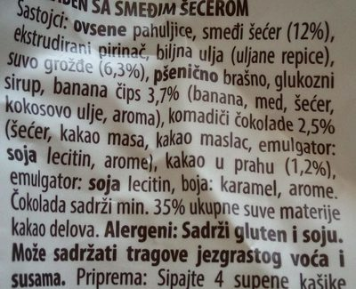 Muesli sa bananom i čokoladom - Ingredients
