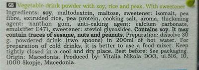 Vegan drink with pea protein - Ingrediënten - en