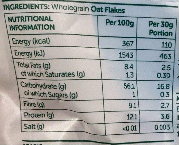 Oat flakes - Informazioni nutrizionali - fr