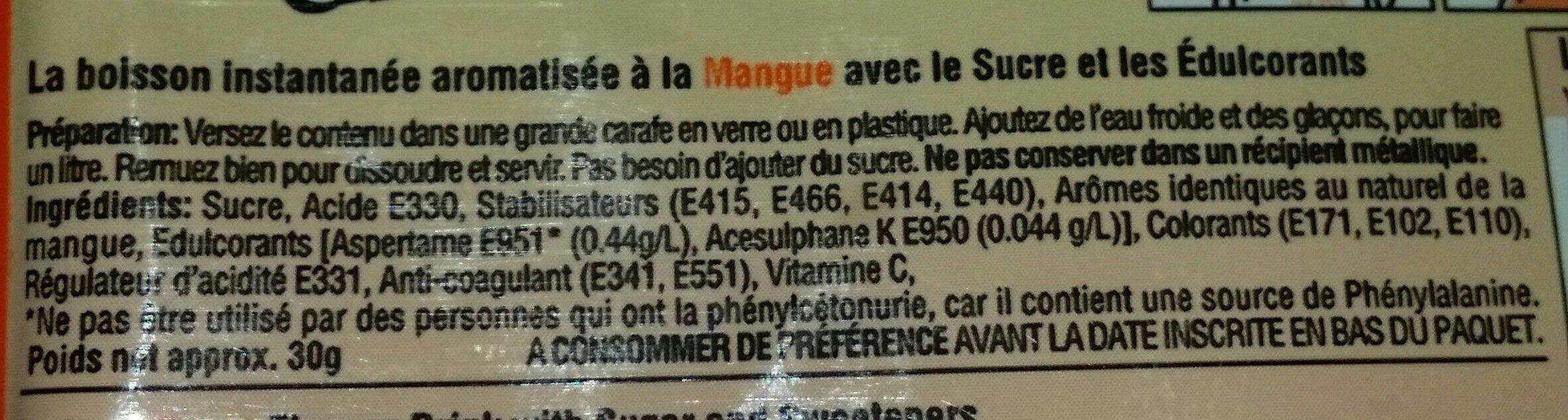 Foster Clark's Mango Drink 30GR - Ingrédients