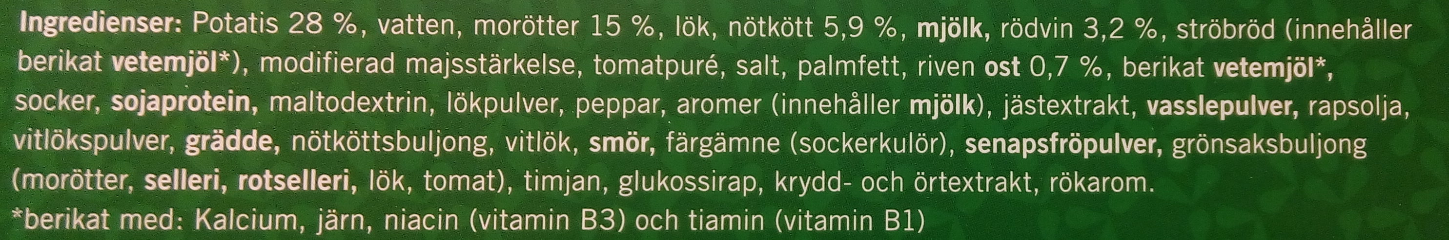 Weight Watchers Pannbiff och potatisgratäng - Ingredients
