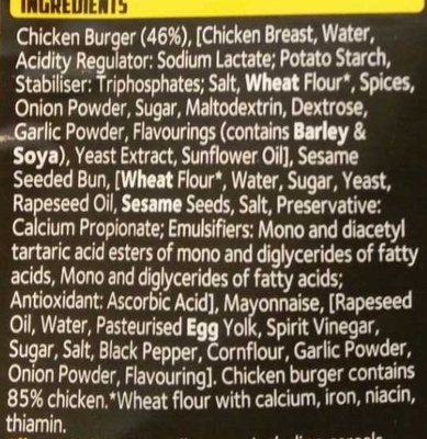 Grilled Chicken Sandwich - Ingredients