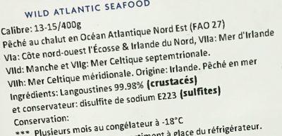 Langoustines entières crues surgelées - Ingredients