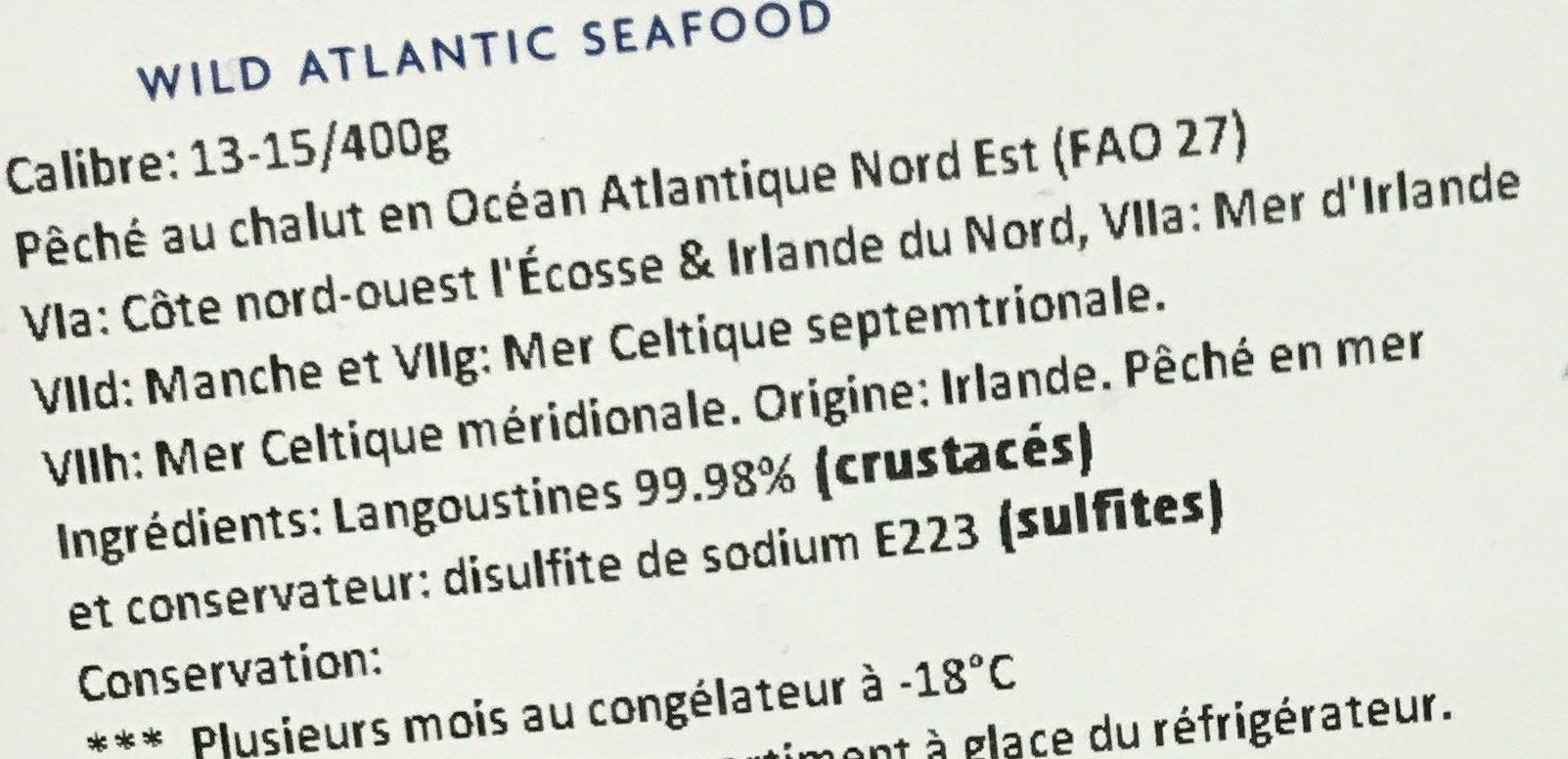 Langoustines entières crues surgelées - Ingredients - fr