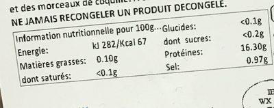 Langoustines entières crues surgelées - Nutrition facts