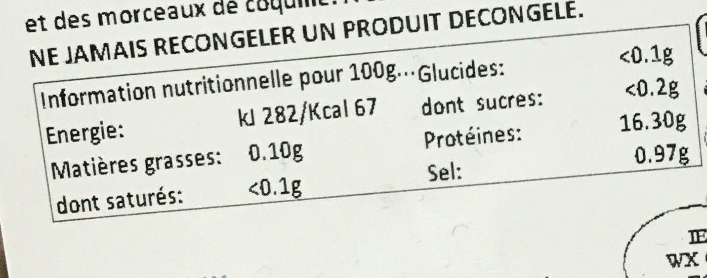 Langoustines entières crues surgelées - Nutrition facts - fr