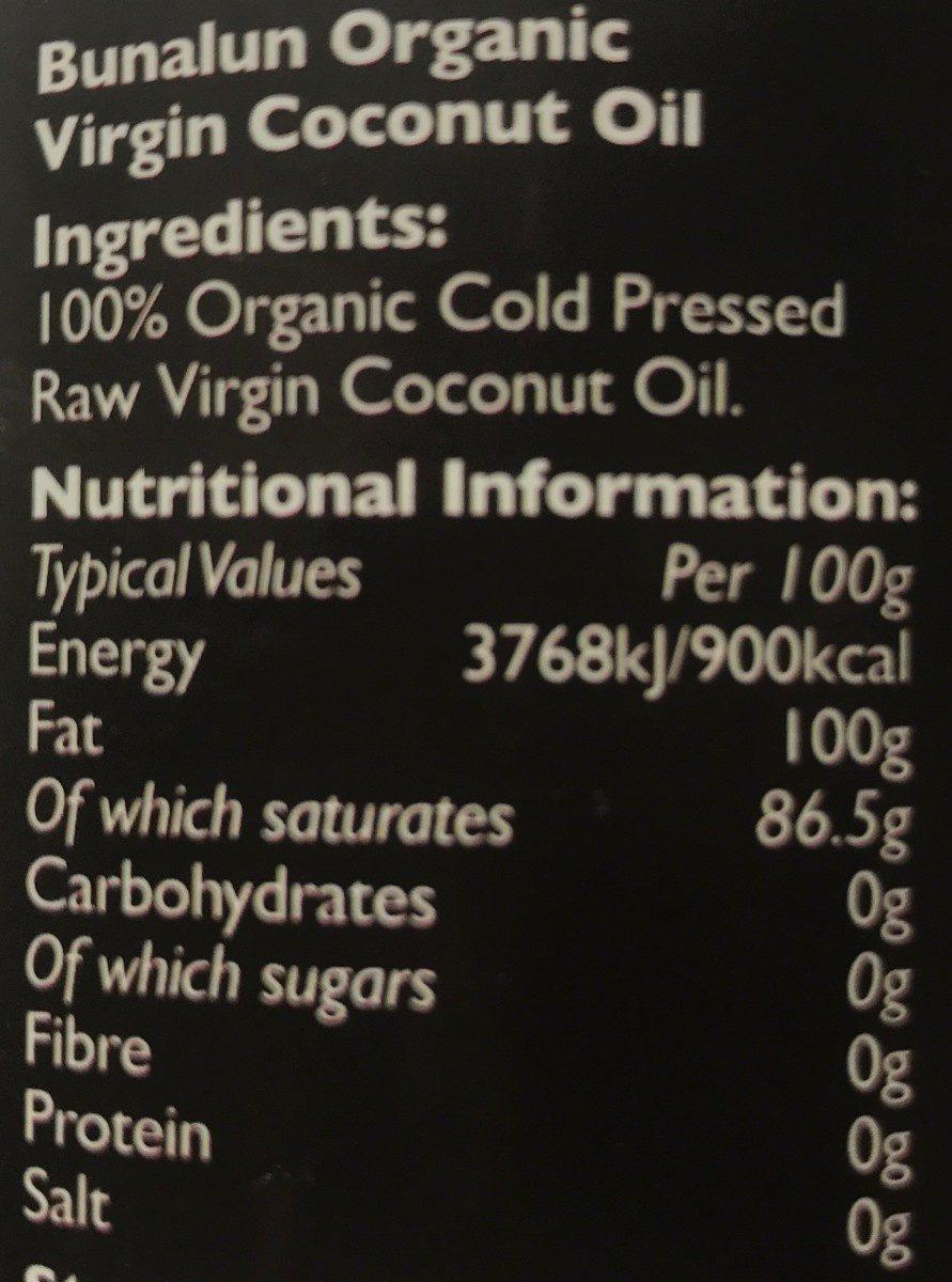 Bunalun Organic Virgin Coconut Oil (432 Millilitre) - Ingrédients - fr