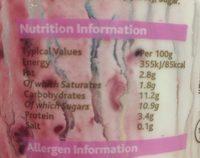 Summerberries natural live yoghurt - Voedigswaarden