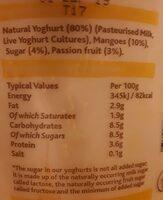 Mango & passion fruit & natural live yoghurt - Nutrition facts - en