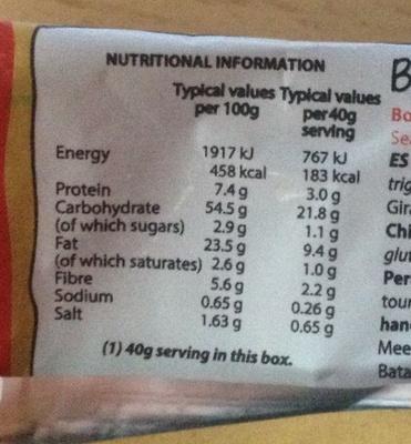 Boxerchips original box sea salt flavour - Nutrition facts