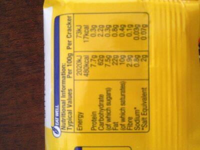 Tuc crackers original - Informations nutritionnelles - en