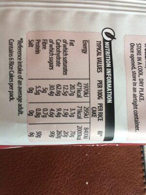 6 Rice Cakes Dark Chocolate - Valori nutrizionali - fr