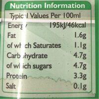 Semi skimmed milk - Valori nutrizionali - en