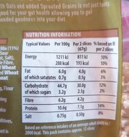 Sourdough Spelt & Oats - Nutrition facts - en