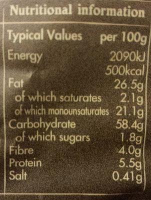 Crinkle Cut - Irish Sea Salt and Crushed Black Pepper Crisps - Voedingswaarden