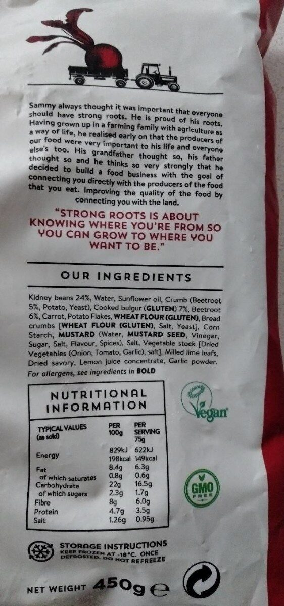 Beetroot & bean burger - Nutrition facts