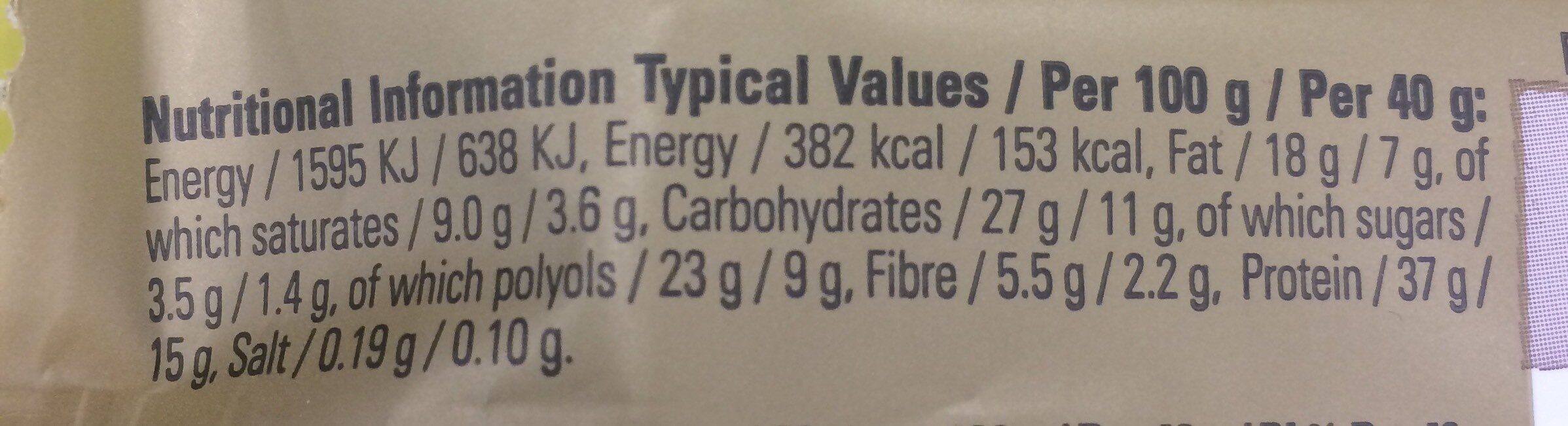 Chocolate Hazelnut Whip Flavour Vitamin & Protein Bar - Informations nutritionnelles - fr