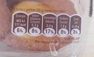 Madeleines - Voedingswaarden - fr
