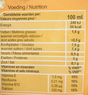 Sojadrink vanille - Informations nutritionnelles