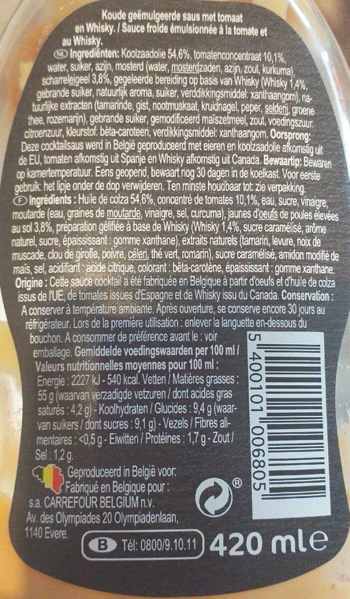 Sauce coktail - Voedingswaarden - fr