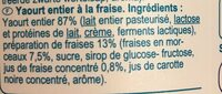 Yaourt entier à la fraise - Ingrediënten