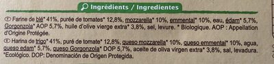 Pizza 4 fromages bio - Ingredients - fr