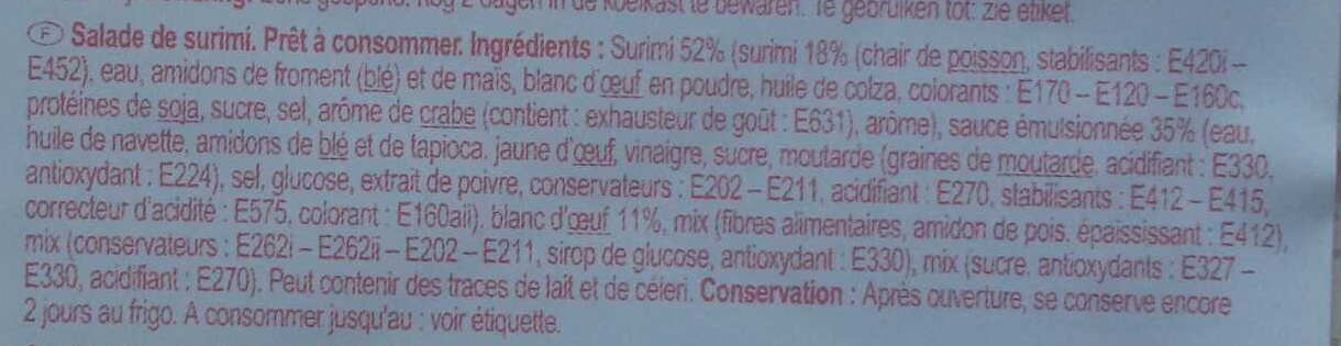 Salade de surimi - Ingrediënten - fr