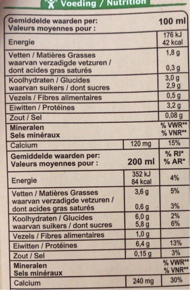 Soja drink nature Bio - Nutrition facts - fr