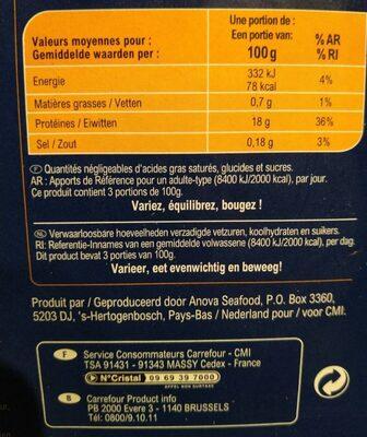 Coeur de filet de cabillaud - Informations nutritionnelles - fr