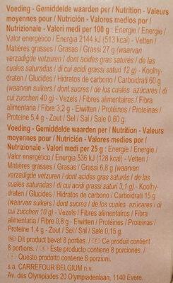 Cookies fourrés - Informations nutritionnelles