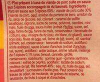 Porc 5 epices et riz basmati - Ingredients - fr