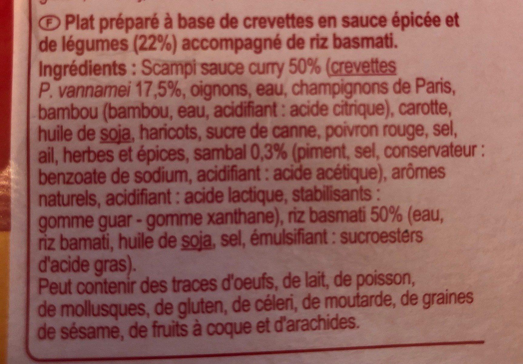 Scampi Curry et Riz Basmati - Ingrédients - fr
