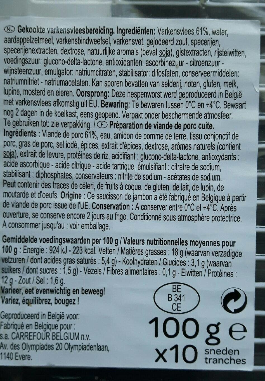 Saucisson de jambon - Voedigswaarden