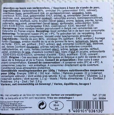 Saucisses - Informations nutritionnelles