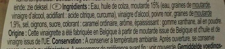 Vinaigrette moutarde à l'ancienne - Ingrédients