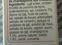 Potage instantané velouté de champignons - Ingrediënten
