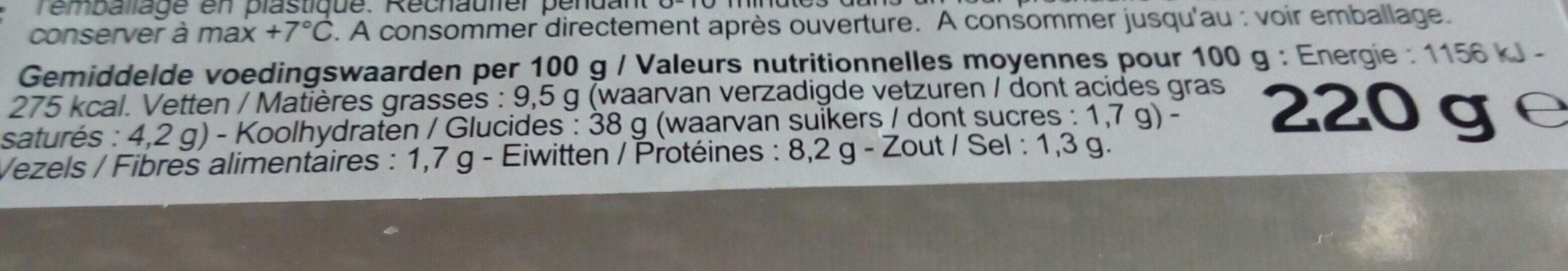 Focaccia à l'ail - Voedingswaarden