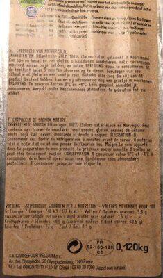 Carpaccio de saumon nature - Informations nutritionnelles - fr
