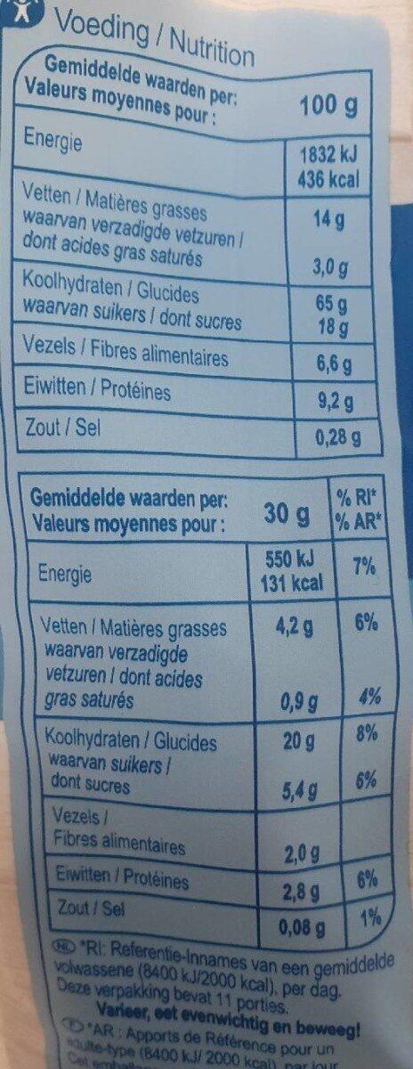 Granola crunchy - Nutrition facts - fr