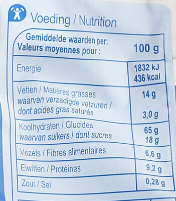 Granola crunchy - Informations nutritionnelles - fr
