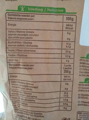 Pomme de terre - Chair ferme - Voedingswaarden - fr
