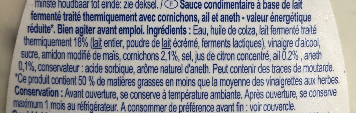 Vinaigrette à l'ail et cornichons - Ingrediënten