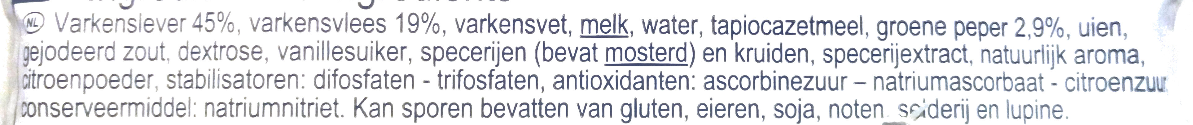 Pâté de campagne au poivre vert - Ingrediënten - nl