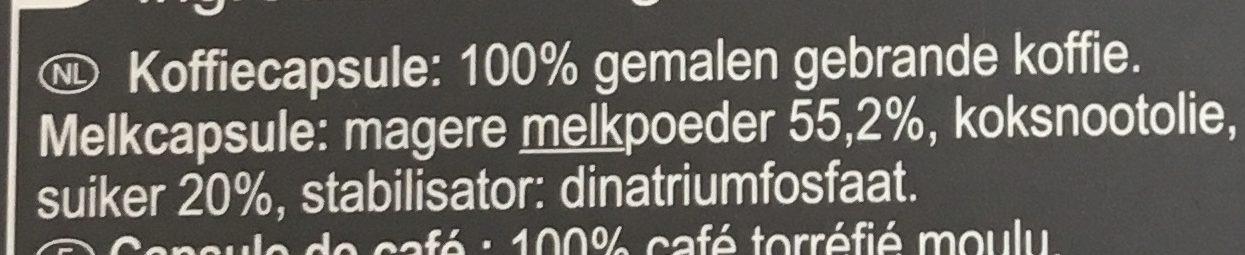 Cappuccino capsules lait et café - Ingrediënten